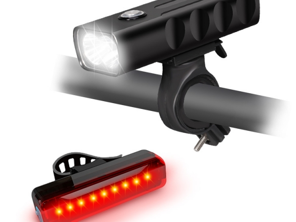 USB chargeable night riding warning light set (B0032+B033A2)