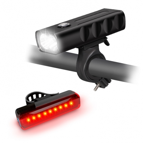 USB chargeable night riding warning light set (B0032+B033A2)