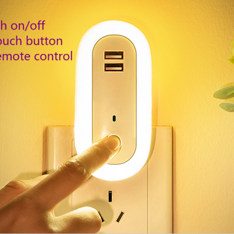 Small night light with USB plug can be customized in Europe and America