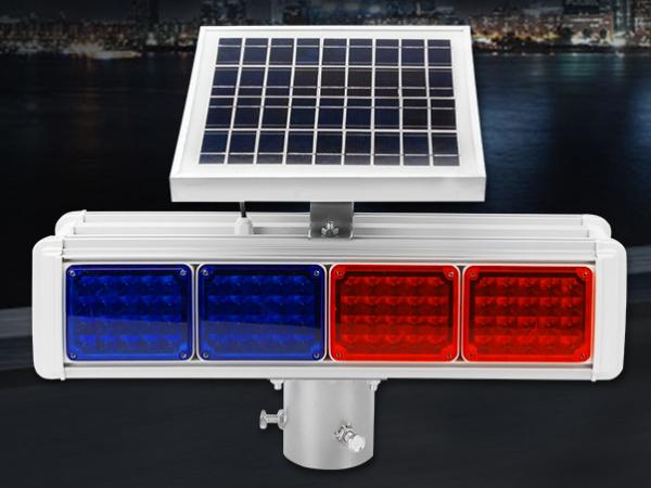 Integrated solar warning flash lamp