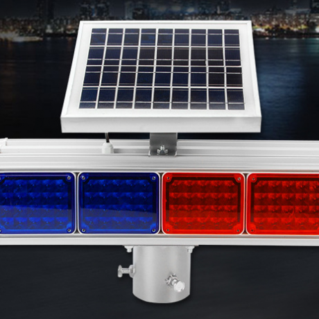 Integrated solar warning flash lamp