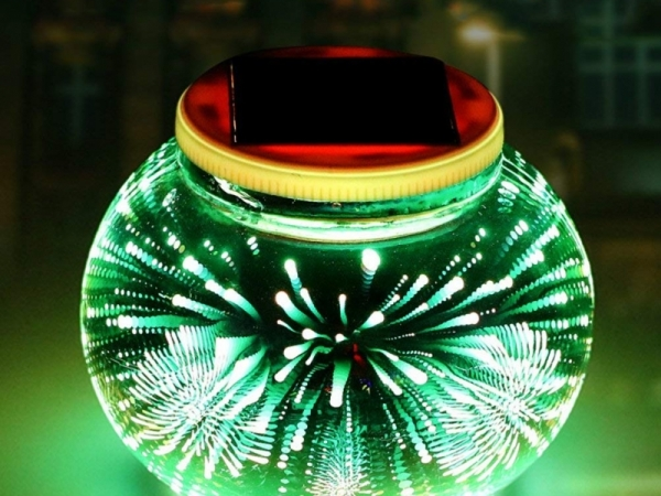 Solar 3D glass ball lamp outdoor light garden decorative lawn light