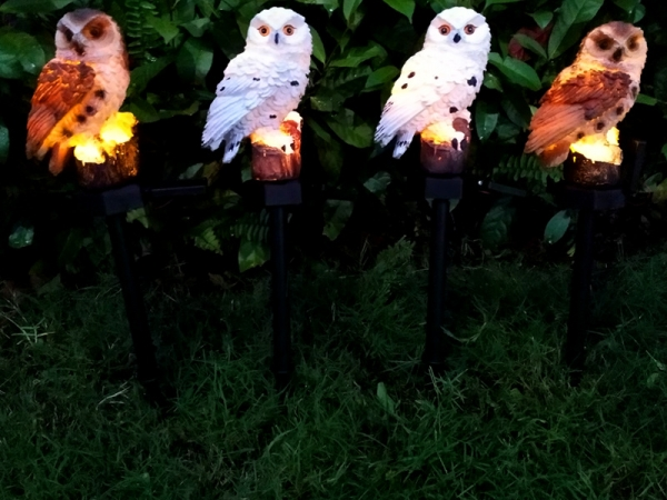 Outdoor Lawn Energy Saving LED Light Garden Decoration Solar Owl Garden Light