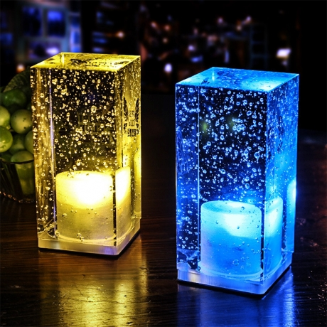 Colorful light waterproof transparent cube desk lamp