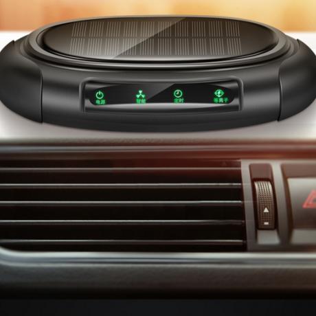Solar anion air purifier for automobile