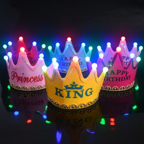 Children party LED birthday hat party decoration princess led light crown hat