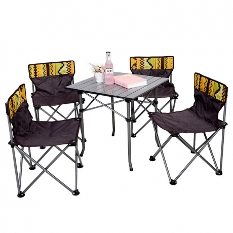 Portable folding tables and chairs for camping