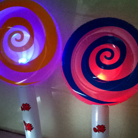Lollipop shaped light inflatable stick