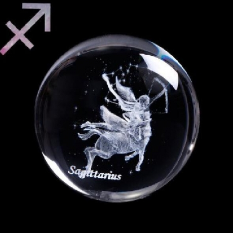 12 constellation laser internal carving crystal ball
