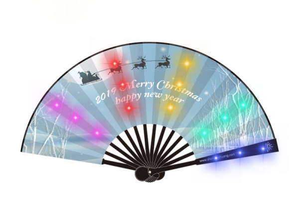 Customized logo print Battery charging LED foldable fan