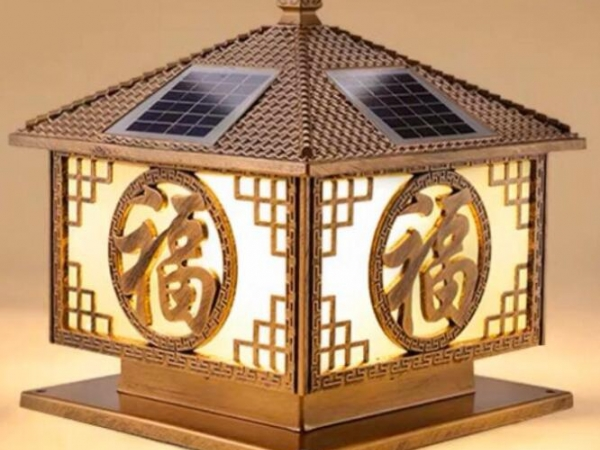 Chinese lucky solar column lamp, outdoor courtyard wall lamp