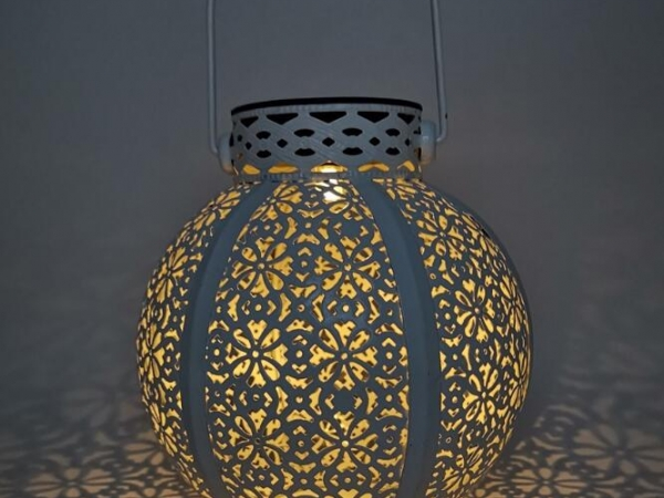 solar led light projection iron lantern