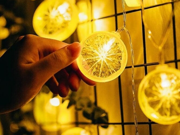 Led lemon slice decorative light string