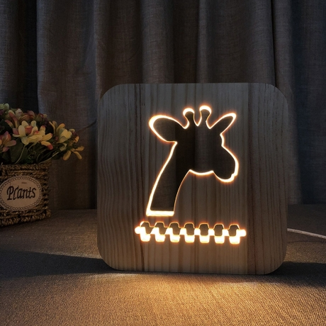 Led wood carving 3D creative decorative table lamp of deer style