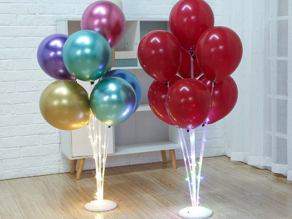 Wedding display transparent table plastic LED light balloon display stand