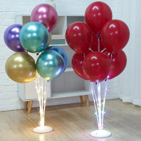 Wedding display transparent table plastic LED light balloon display stand