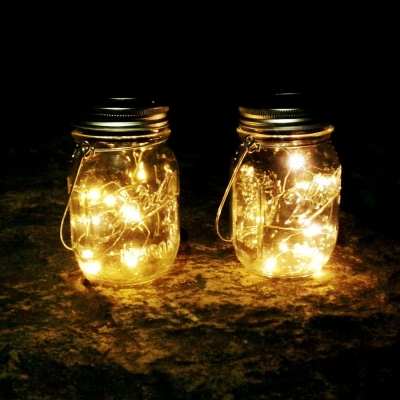 Solar Powered Mason Jars with 4pcs bright led light  (48pcs/ctn/lot)