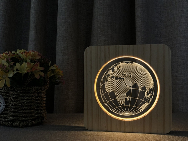 Acrylic customized pattern wooden night light (No.ML-WN02)
