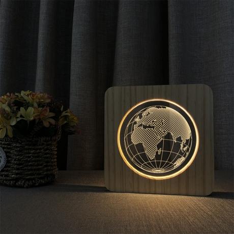 Acrylic customized pattern wooden night light (No.ML-WN02)