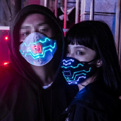 Laser effect fiber light music sensitive mask (50pcs/ctn)