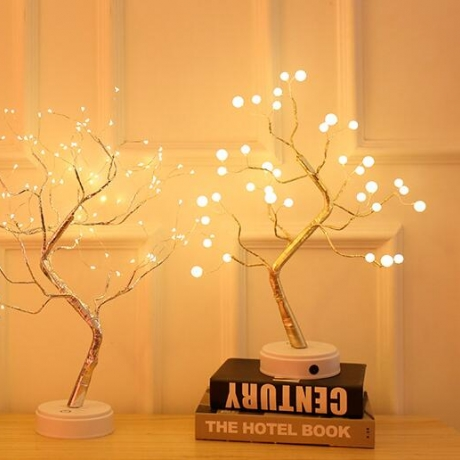 led tree with pearl lamp for desktop ornament