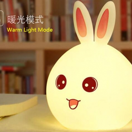 Rechargeable colorful silicone rabbit lamp