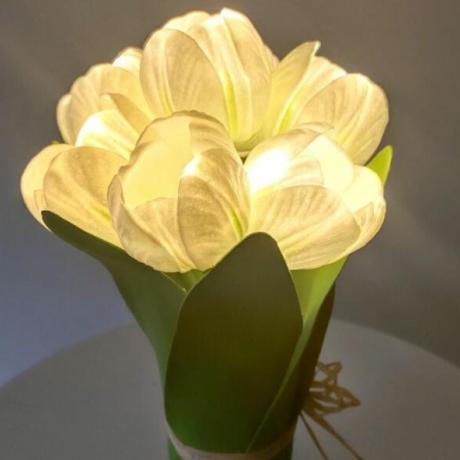 luminous tulip bouquet with led light for desktop decoration