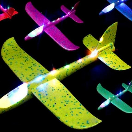 Hand thrown gliding foam aircraft with light