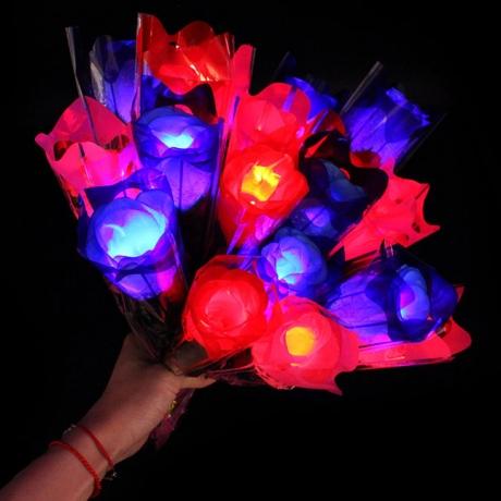 Beautiful LED light emitting simulation rose