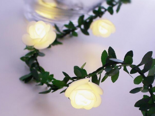 Simulation green leaf rattan rose vine LED light string Christmas decoration DIY wreath