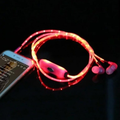 Night running colorful chargeable led flashing glow earphone(50pcs/lot)