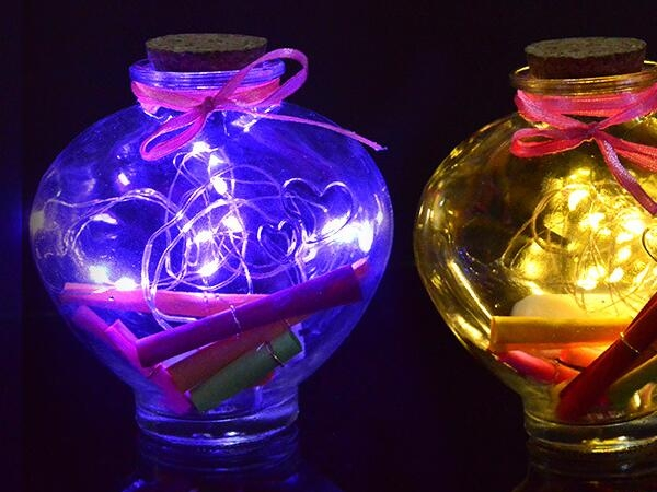 LED light wishing cork glass jar with different sizes