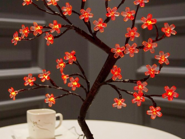 LED light emitting cherry blossom bouquet tabletop ornament