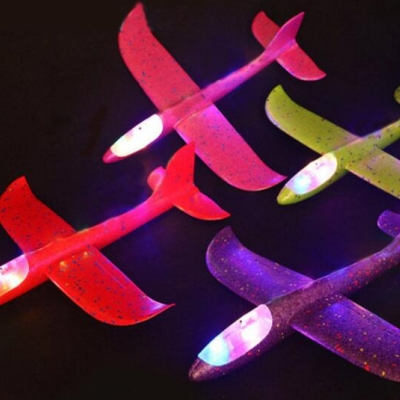 Kid's toy LED Foam Hand Throwing Airplane with bright light (100pcs/lot)