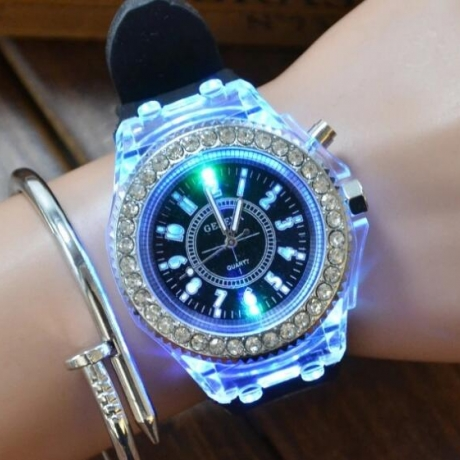 LED light watch Luminous colorful flashing watch light