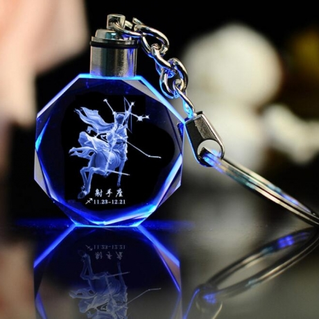 12 constellations crystal carved luminous light key chain