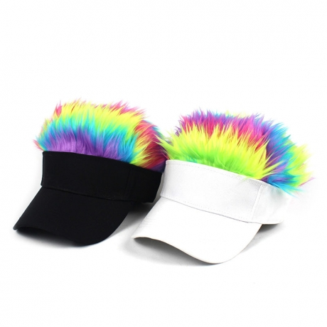 Multi-color and size adjustable baseball caps with wigs