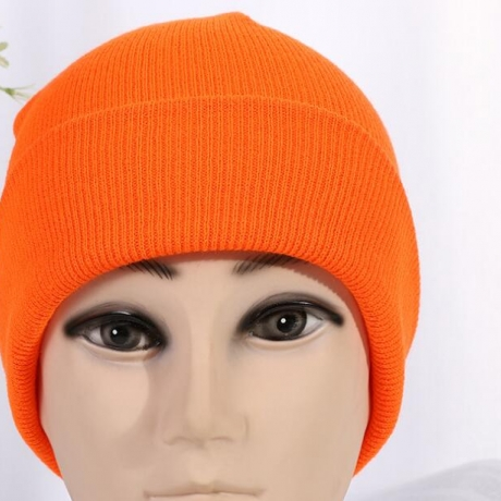 Single color knitted hat beanie with curled hem for large events and outdoor activities