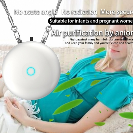 Portable rechargeable anion air purifier necklace