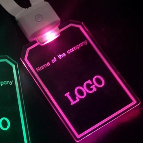 LED luminous advertising badge light up working card with remote control