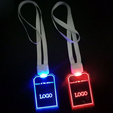 Battery power Acrylic Lighted Lanyard with customized logo print(M-70)