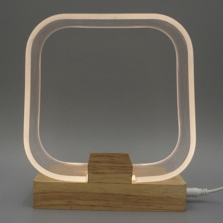 Customized logo print square Nordic led night light with soft light (ML-053)