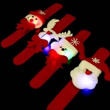 Luminous Plush Christmas clap bracelet, luminous Christmas bracelet, Santa Claus wrist band