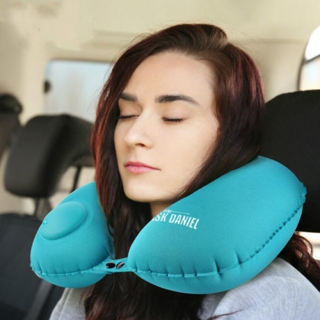 Portable inflatable U-shaped pillow for travel