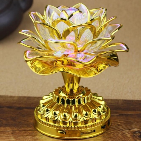 colorful lotus lamp with Buddhist music