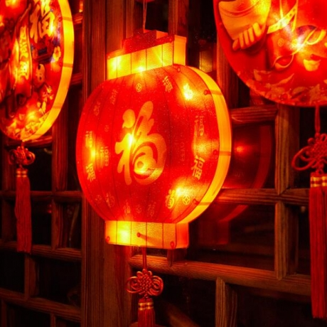 Lucky sign and luminous mascot of Chinese New Year