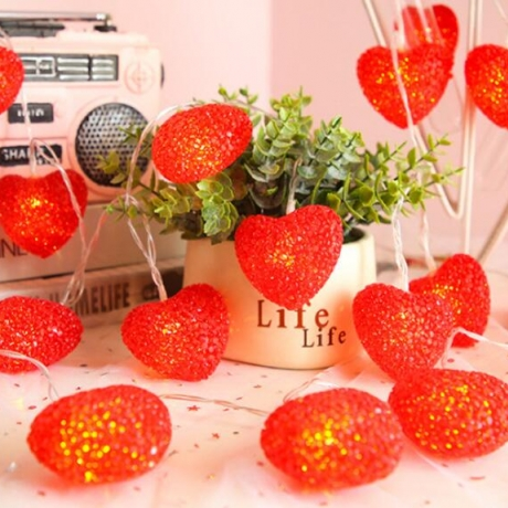 EVA particle peach heart LED lamp string