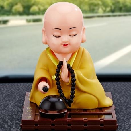 Solar energy monk dynamic blessing decoration