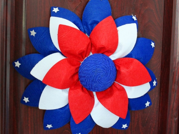 American flag style decoration with artificial flowers
