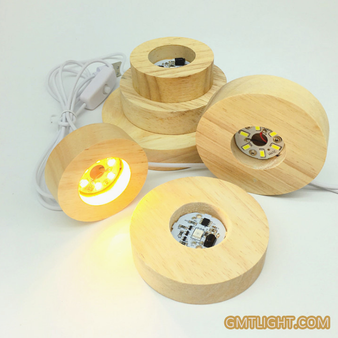 usb powered high light wooden luminous ba<em></em>se for display